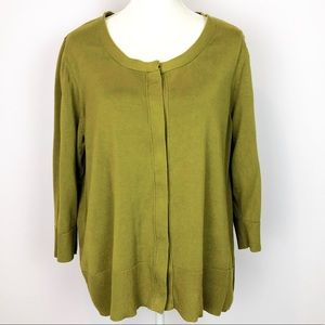 Silk Blend Olive Green Cardigan 2X Coldwater Creek